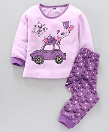 Nottie Planet Full Sleeves Car With Balloon Print Night Suit  - Purple
