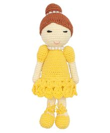Happy Threads Crochet Doll Yellow - Height 19.5 cm