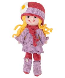 Happy Threads Crochet Molly Doll Purple and Red - Height 19.05 cm