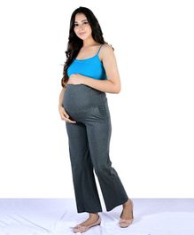 Mamacouture Solid Colour Full Length Over The Belly Maternity Pants - Grey
