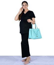 Mamacouture Solid Colour Full Length Over The Belly Maternity Pants - Black