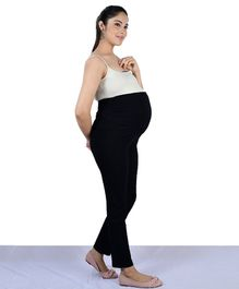 Mamacouture Solid Colour Full Length Over The Belly Maternity Track Pants - Black