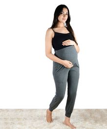 Mamacouture Solid Colour Full Length Over The Belly Maternity Joggers - Grey