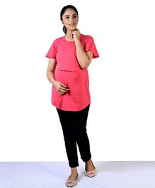 Mamacouture Solid Colour Half Sleeves Nursing Maternity Top - Pink