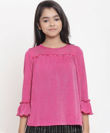 Natilene Solid Three Fourth Sleeves Top - Pink