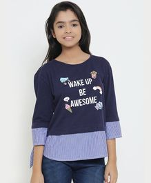 Natilene Wake Up Printed Three Fourth Sleeves Top - Navy