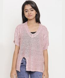 Natilene Solid Half Sleeves Top - Pink