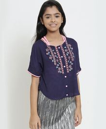 Natilene Half Sleeves Flower Embroidered Top - Blue