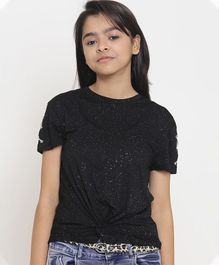Natilene Self Design Half Sleeves Top - Black