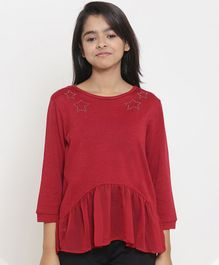 Natilene Star Print Full Sleeves Top - Maroon