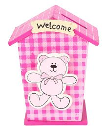 House Shaped Wooden Money Bank Teddy Design - Pink