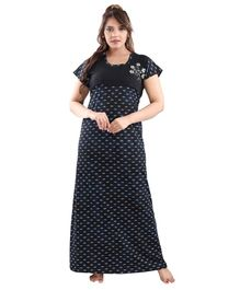 Fabme Short Sleeves Printed Maternity Nighty - Blue