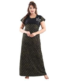 Fabme Short Sleeves Printed Maternity Nighty - Dark Green