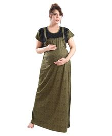 Fabme Short Sleeves Flower Print Nursing Night Gown - Green