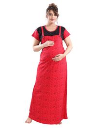 Fabme Short Sleeves Flower Print Nursing Night Gown - Red