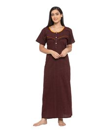 Fabme Short Sleeves Maternity & Nursing Nighty - Dark Brown
