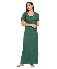 Fabme Short Sleeves Maternity & Nursing Nighty - Green