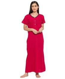 Fabme Short Sleeves Maternity & Nursing Nighty - Red