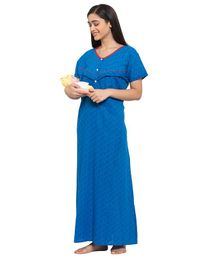 Fabme Short Sleeves Maternity & Nursing Nighty - Light Blue