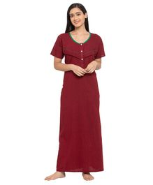 Fabme Short Sleeves Maternity & Nursing Nighty - Maroon
