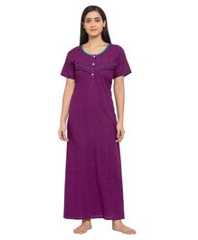 Fabme Short Sleeves Maternity & Nursing Nighty - Purple