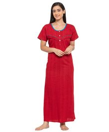 Fabme Short Sleeves Maternity & Nursing Nighty - Light Red