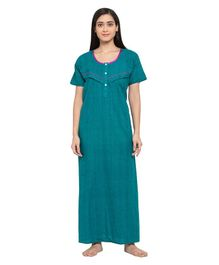 Fabme Short Sleeves Maternity & Nursing Nighty - Sea Green