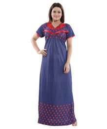 Fabme Maternity & Nursing Short Sleeves Nighty - Blue