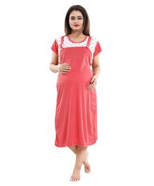 Fabme Maternity & Nursing Short Sleeves Dungaree Style Striped Nighty - Red