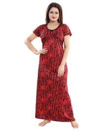 Fabme Maternity & Nursing Short Sleeves Abstract Print Nighty - Red