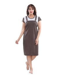 Fabme Short Sleeves Maternity Dungaree Style Nighty - Brown