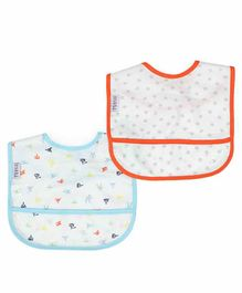 Mi Arcus Cuddle Unisex Feeding Bib 2 Pack - Blue & Red