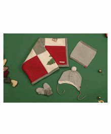 Mi Arcus Christmas Knitted Gift Set - Red Grey