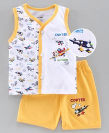 Cucumber Sleeveless Tee & Shorts Set Copter Print - Yellow