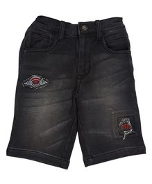 LEO River Wash Denim Shorts - Black