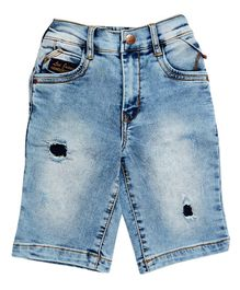 LEO Stone Wash Denim Shorts - Blue