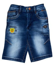 LEO Patch Detailed Denim Shorts - Blue