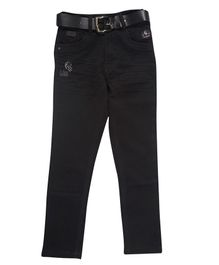 LEO Back Elastic Full Length Solid Jeans - Black