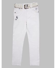 LEO Solid Full Length Jeans - White