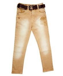 LEO Solid Full Length Jeans - Beige