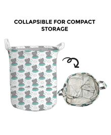 Polka Tots Canvas Laundry Cum Storage Bag Elephant Print - White