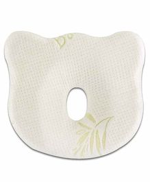 The White Willow Infant Baby Pillow with Removable Organic Bamboo Cover - White