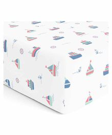 The White Cradle Pure Organic Cotton Fitted Crib Sheet Yacht Print - White