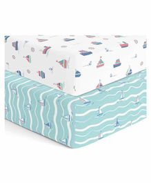 The White Cradle 100% Organic Cotton Crib Fitted Sheets Set of 2 - Blue Whiteacht and Yacht Blotch