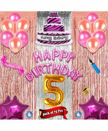 Shopperskart Fifth Birthday Decoration Kit Multicolor - Pack of 75