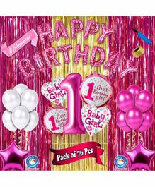 Shopperskart First Birthday Decoration Kit Pink - Pack of 76