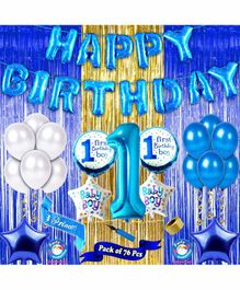 Shopperskart First Birthday Decoration Kit Blue - Pack of 76