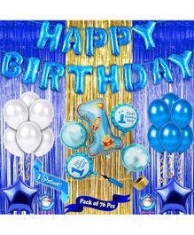 Shopperskart First Birthday Decoration Kit Blue Golden - Pack of 76