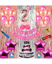 Shopperskart Second Birthday Decoration Kit Pink - Pack of 74