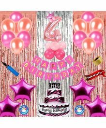 Shopperskart Fourth Birthday Decoration Kit Pink - Pack of 74
